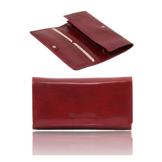 イタリア製本牛革カーフレザーのレディース三つ折り長財布、レッド、赤