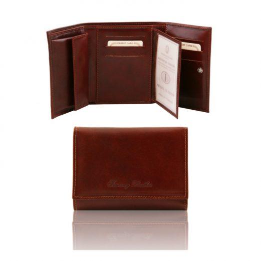 イタリア製本牛革カーフレザーのIDケースつきレディース財布、ブラウン