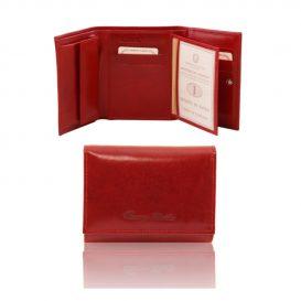 Esclusivo Portafogli in Pelle da Donna 4 Ante Rosso