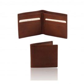 イタリア製フルグレインレザーの小銭入れ無しメンズ財布、ブラウン