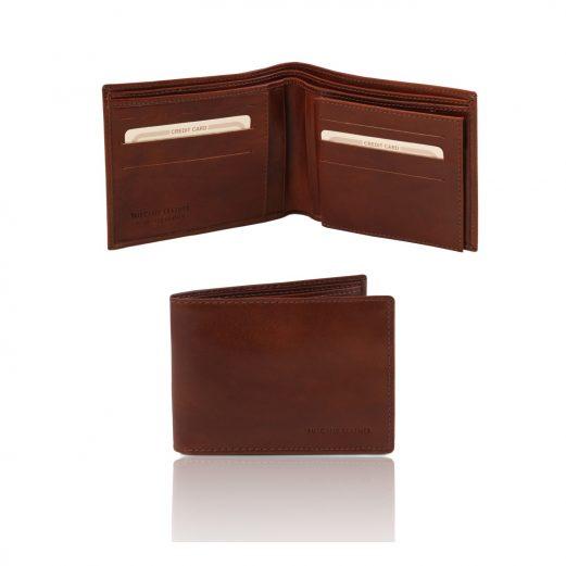 イタリア製フルグレインレザーのIDケースつき小銭入れ無しメンズ財布、ブラウン