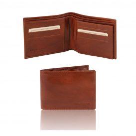 イタリア製カーフレザーのIDケースつき小銭入れ無しメンズ財布、ブラウン