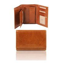 イタリア製フルグレインレザーのIDケースつき三つ折りレディース財布、ハニー