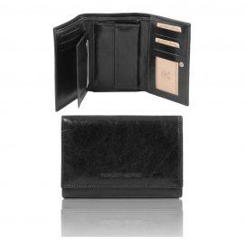 イタリア製フルグレインレザーのIDケースつき三つ折りレディース財布、ブラック