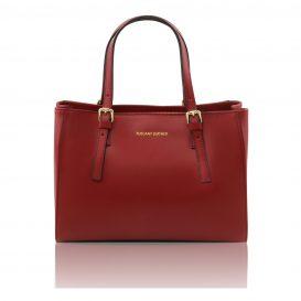 イタリア製本革バッグ、イタリア製レディースバッグ、赤、レッド