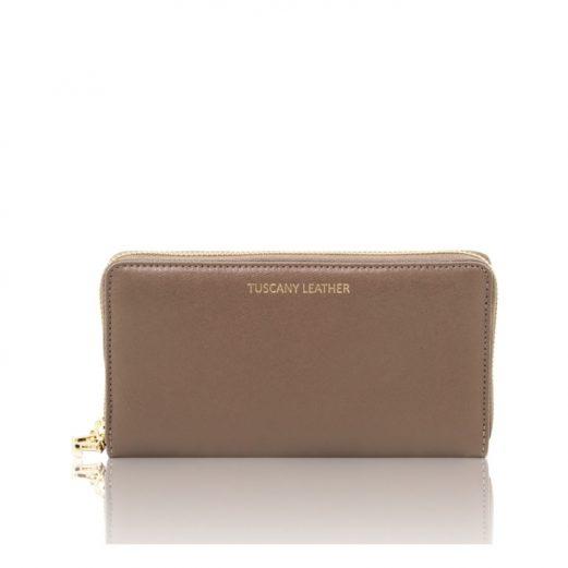 イタリア製本革カーフ・サフィアーノレザーのレディース長財布 (2室タイプ)ライトトープ