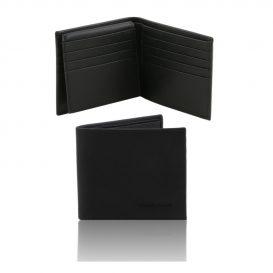 イタリア製本牛革カーフ・サフィアーノレザーのメンズ財布 、ブラック、黒