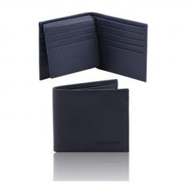 イタリア製本牛革カーフ・サフィアーノレザーのメンズ財布 、ブルー