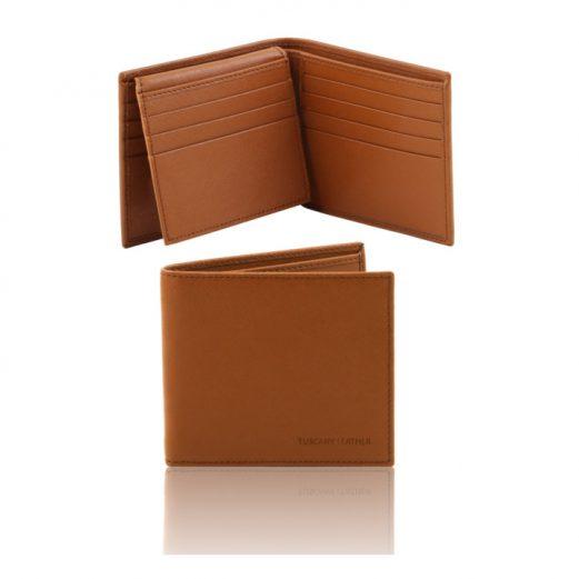 イタリア製本牛革カーフ・サフィアーノレザーのメンズ財布 、コニャック