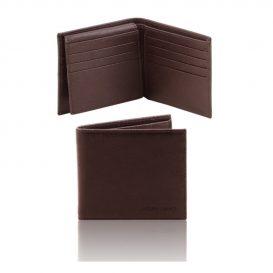 イタリア製本牛革カーフ・サフィアーノレザーのメンズ財布 、ダークブラウン