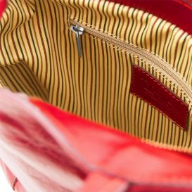 イタリア製ベジタブルタンニンレザー2WAYリュック&ショルダーバッグPATTY、レッド、詳細5