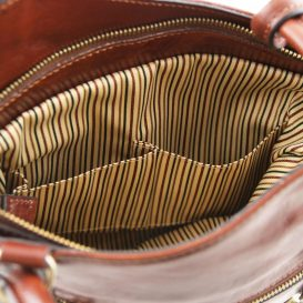 イタリア製ベジタブルタンニンレザー・リュック&ショルダー2way バッグ、ブラウン、詳細5
