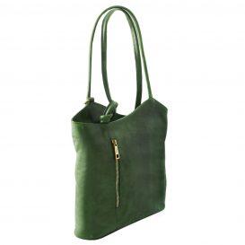 イタリア製ベジタブルタンニンレザー・リュック&ショルダー2way バッグ、グリーン、詳細1