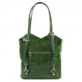 イタリア製ベジタブルタンニンレザー・リュック&ショルダー2way バッグ、グリーン、詳細2