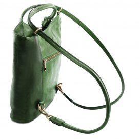 イタリア製ベジタブルタンニンレザー・リュック&ショルダー2way バッグ、グリーン、詳細3