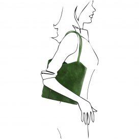 イタリア製ベジタブルタンニンレザー・リュック&ショルダー2way バッグ、グリーン、詳細5