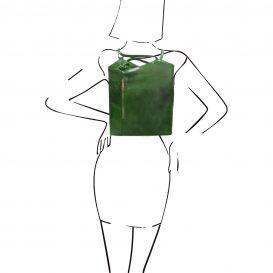 イタリア製ベジタブルタンニンレザー・リュック&ショルダー2way バッグ、グリーン、詳細6