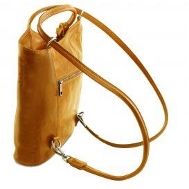 イタリア製ベジタブルタンニンレザー・リュック&ショルダー2way バッグ、イエロー、詳細3