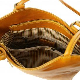 イタリア製ベジタブルタンニンレザー・リュック&ショルダー2way バッグ、イエロー、詳細4