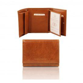 イタリア製フルグレインレザーのIDケースつき財布、ハニー