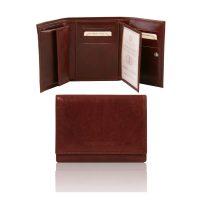 イタリア製フルグレインレザーのIDケースつき財布、ブラウン