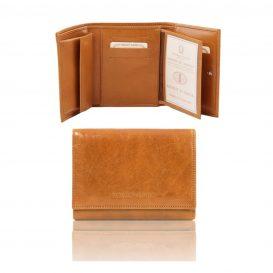 イタリア製カーフレザーのIDケースつき財布、ハニー