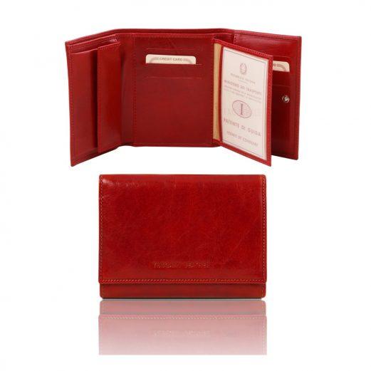 イタリア製カーフレザーのIDケースつき財布、レッド