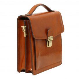 イタリア製DAVID2 本牛革ベジタブルタンニンレザーの斜め掛けバッグ - Sサイズ、ハニー、キャメル、コニャック、詳細2