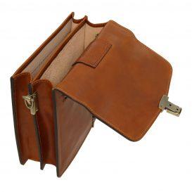 イタリア製DAVID2 本牛革ベジタブルタンニンレザーの斜め掛けバッグ - Sサイズ、ハニー、キャメル、コニャック、詳細7