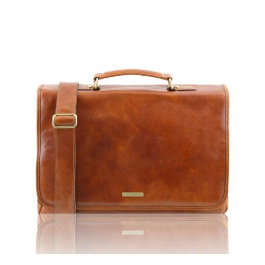 イタリア製MANTOVA ベジタブルタンニンレザーの取り外しポケットTL SMARTつきバッグ、ハニー