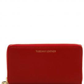 イタリア製本革カーフ・ルーガレザーのレディース長財布 (2室タイプ)レッド