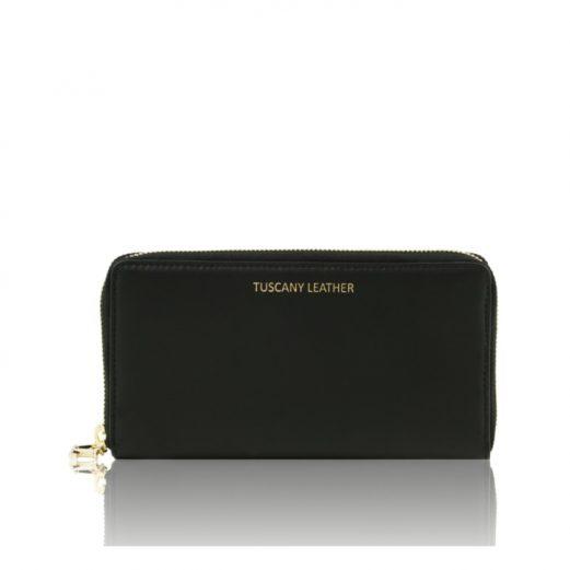 イタリア製本革カーフ・ルーガレザーのレディース長財布 (3室タイプ)ブラック、黒