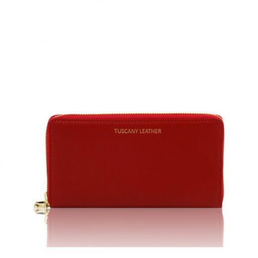 イタリア製本革カーフ・ルーガレザーのレディース長財布 (3室タイプ)、レッド、赤