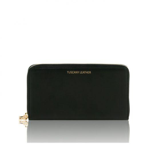 イタリア製本革カーフ・ルーガレザーのパスポートケース&長財布、ブラック、黒