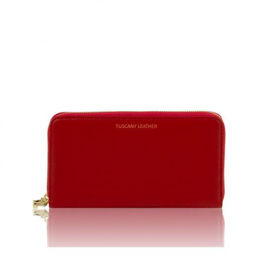 イタリア製本革カーフ・ルーガレザーのパスポートケース&長財布、レッド