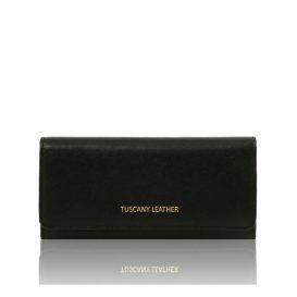 イタリア製本革カーフ・ルーガレザーのレディース長財布 (ボタン開閉・2室タイプ)ブラック