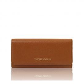 イタリア製本革カーフ・ルーガレザーのレディース長財布 (ボタン開閉・2室タイプ)コニャック