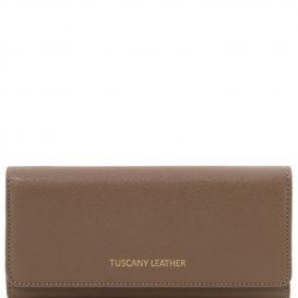 イタリア製本革カーフ・ルーガレザーのレディース長財布 (ボタン開閉・2室タイプ)ライト・トープ