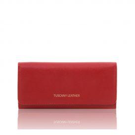 イタリア製本革カーフ・ルーガレザーのレディース長財布 (ボタン開閉・2室タイプ)レッド