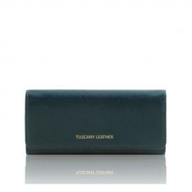 イタリア製本革カーフ・ルーガレザーのレディース長財布 (ボタン開閉・2室タイプ)ティール、ブルー