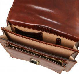 イタリア製本牛革ベジタブルタンニンレザーの斜め掛けバッグERIC、ブラウン、茶色、詳細5
