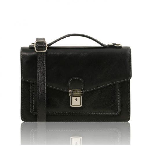 イタリア製ERIC 本牛革ベジタブルタンニンレザーの斜め掛けバッグ 、ブラック、黒