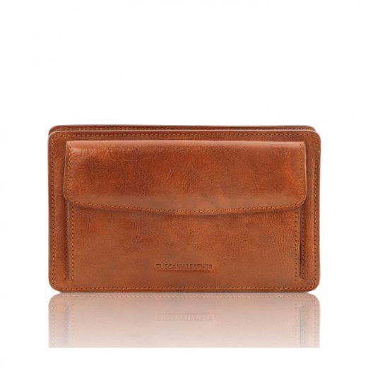 イタリア製ベジタブルタンニンレザーのセカンドバッグ DENIS、ハニー