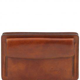 イタリア製DENIS 本牛革ベジタブルタンニンレザーのセカンドバッグ、ハニー