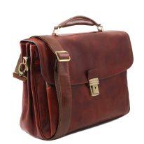 イタリア製ベジタブルタンニンレザーのビジネスバッグ ALESSANDRIA、ブラウン、詳細1