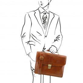 イタリア製ALESSANDRIA ベジタブルタンニンレザーの取り外しポケットTL SMARTつきキャリーオン仕様バッグ、ハニー、キャメル、コニャック、詳細3