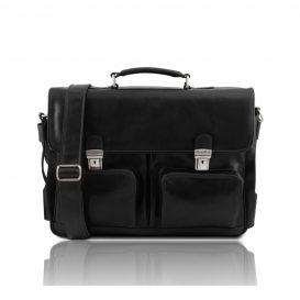 イタリア製ベジタブルタンニンレザーの取り外し仕切りつきバッグ VENTIMIGLIA、ブラック