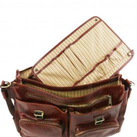 イタリア製ベジタブルタンニンレザーの取り外し仕切りつきバッグ VENTIMIGLIA、詳細10