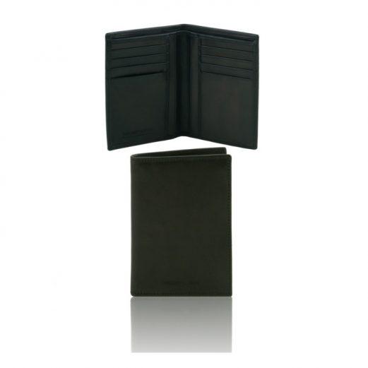 本牛革カーフレザーのメンズ財布(紙幣入れ2か所)ブラック、黒