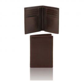 本牛革カーフレザーのメンズ財布(紙幣入れ2か所)ダークブラウン